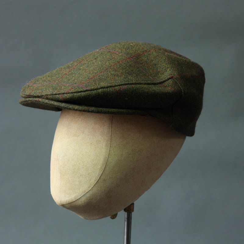 Pure Wool Tweed Flat Cap  The Tadworth  -Red Pink Check  aa72851f430