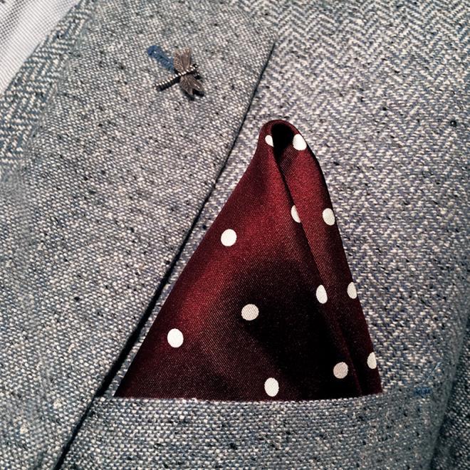 Large Burgundy Polkadot Silk Pocket Hankie