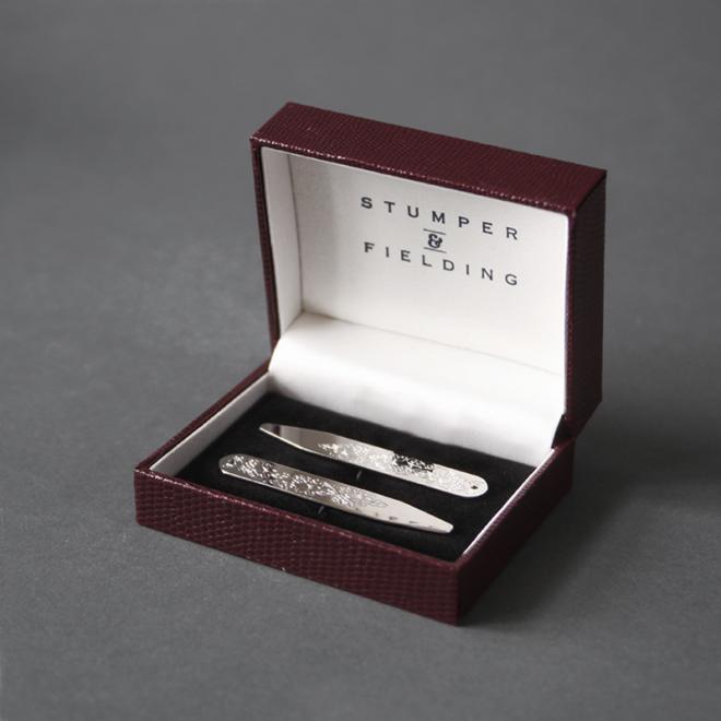 Silver Pattern Tie Clips
