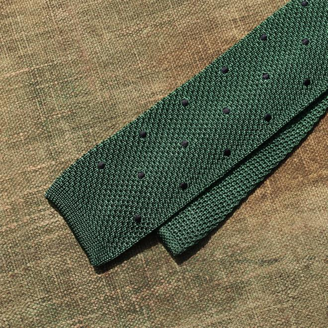 A Mid Olive Green and Navy Polkadot Silk Tie