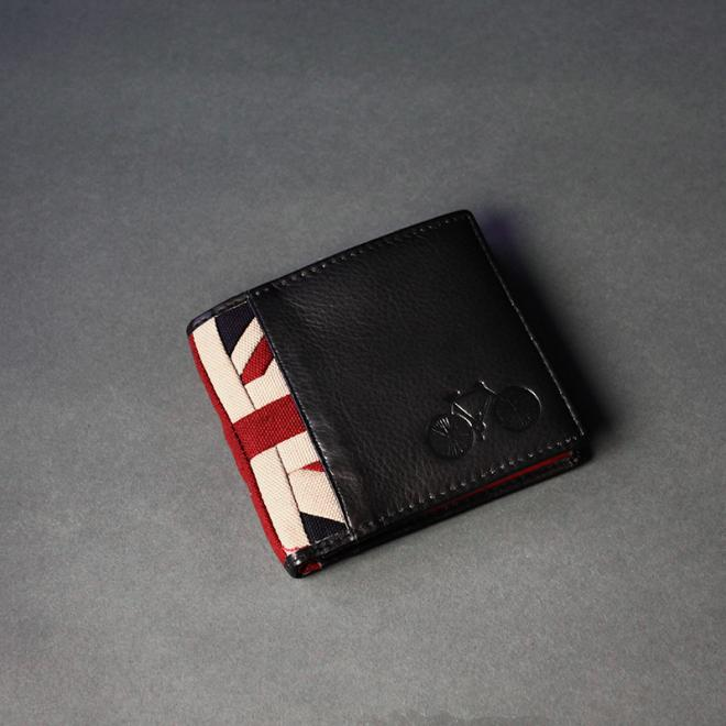 Black Leather Bicycle Wallet with Canvas Union Jack Trim (O)