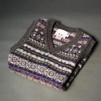 Fair-Isle Sleeveless Knitted Vest Midnight