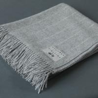 Wool Pinstripe Blanket Grey