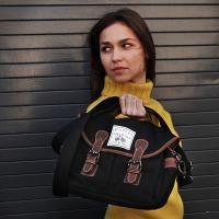 Cotton Satchel Bag 'The Ansel' Black