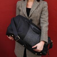 Black Leather and Tweed Holdall