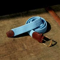 Plain Baby Blue Elastic Belt With A Leather Finish