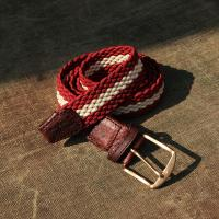 Two Wave Red and White Elastic Belt With a Leather Finish