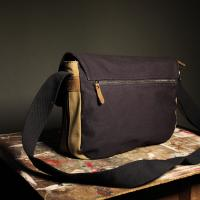 Cotton Satchel 'The Jerwood' Beige-Khaki/Navy