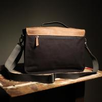 Leather/Cotton Satchel 'The Franklin'  Black and Brown