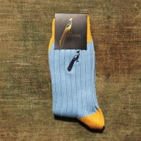 Hortons Socks in Canary Yellow and Pale Blue