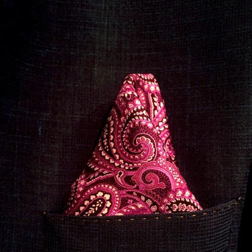 Vivid Pink Silk Polkadot Pocket Hankie