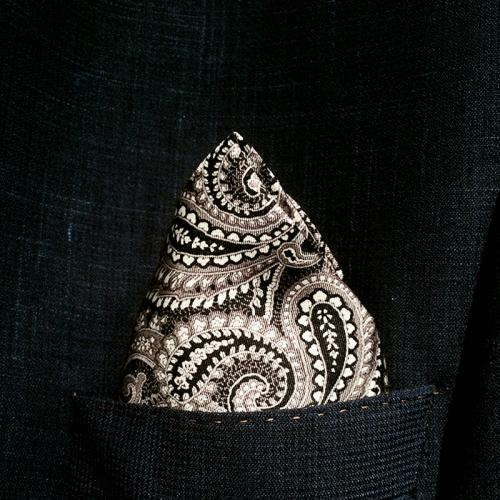 Black And White Silk Paisley Pocket Hankie