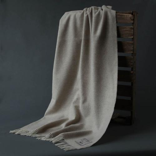 Wool Herringbone Blanket Beige