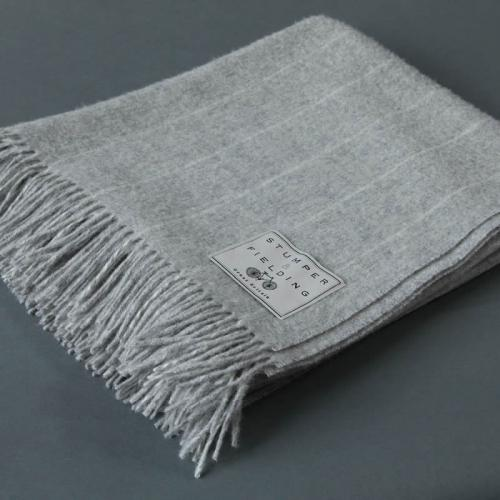 Wool Pinstripe Blanket Grey