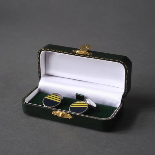 Circular Navy Cufflinks with Yellow Stripe