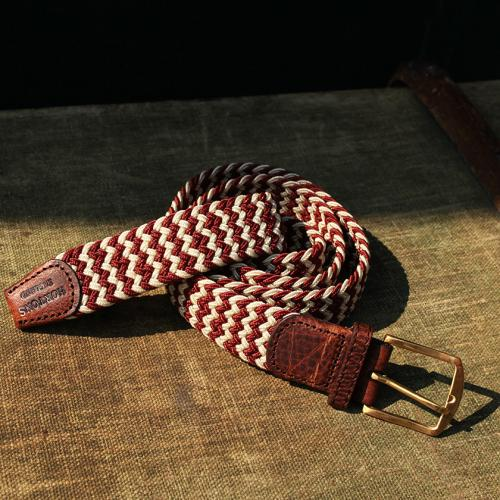 Two Wave Burnt Orange and White Elastic Belt