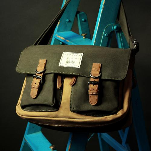 Cotton Satchel 'The Jerwood Forest' Beige-Khaki/Green