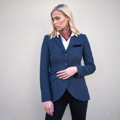 Women's Tweed Jacket-Blue Herringbone