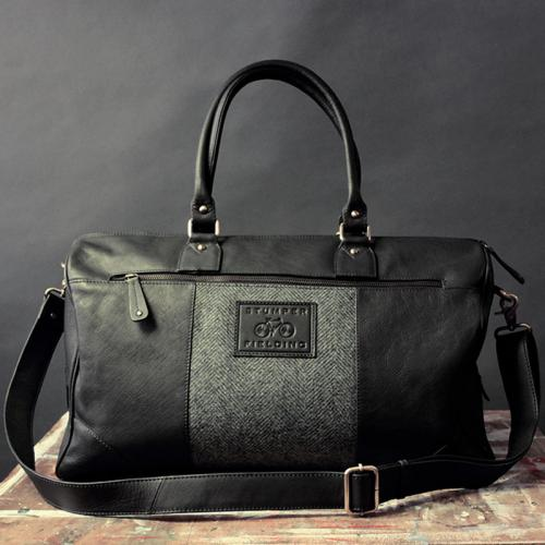 Black Leather and Tweed Holdall