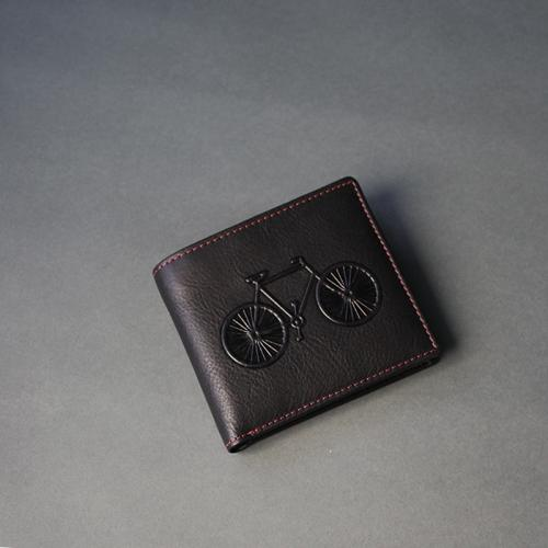 Black Leather Bicycle Wallet With Subtle Red Trim (N)