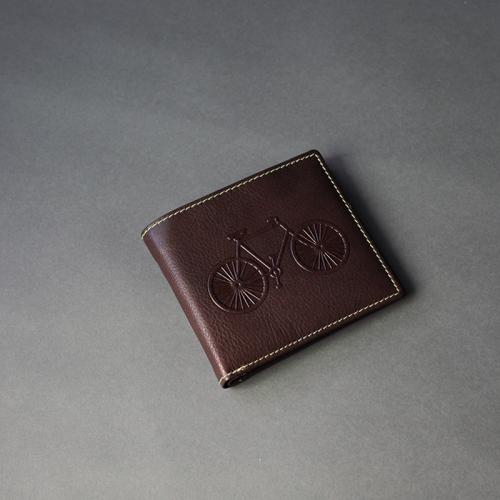 Brown Leather Wallet with Bicycle (M)