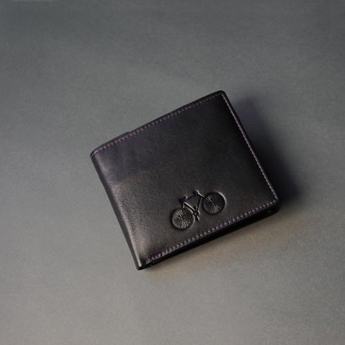 Black Leather Bicycle Wallet with subtle Purple Stitch (I)