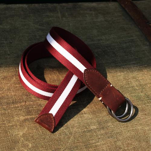 Stumpers Classic two wave burgundy and white vintage fabric belt