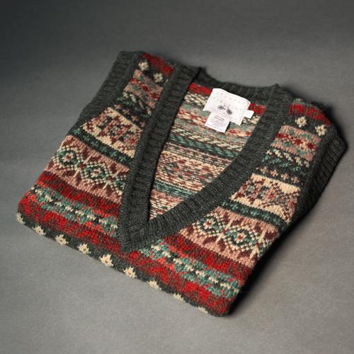 FAIR-ISLE SLEEVELESS KNITTED VEST PINE SHADOW