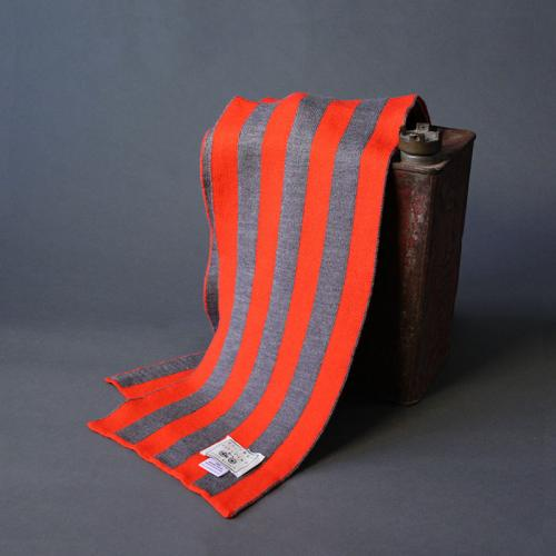 100% Extra Fine merino Scarf, Acid Orange and Silver