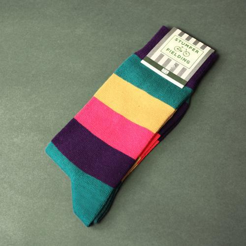Blue Yellow Pink Purple Striped Socks