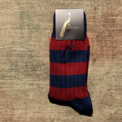 Hortons Striped Burgundy and navy Socks