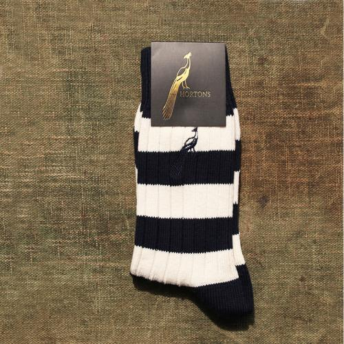 Hortons Striped Navy Blue and White Socks