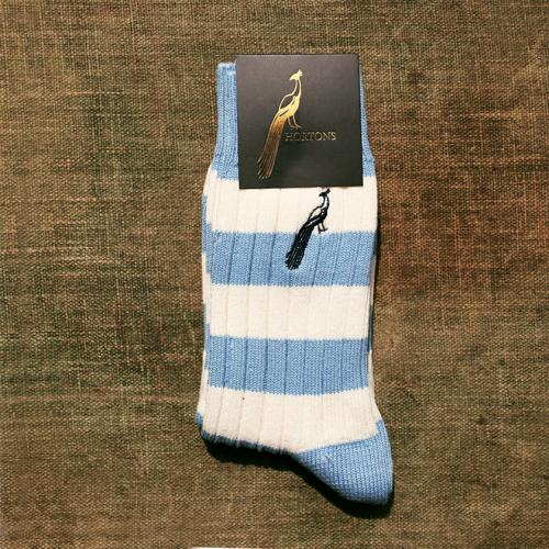 Hortons Pale Blue and White Striped Socks