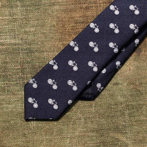 Deep Navy Vintage Bike Silk Tie