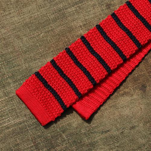 Scarlet and Navy Striped Silk Tie