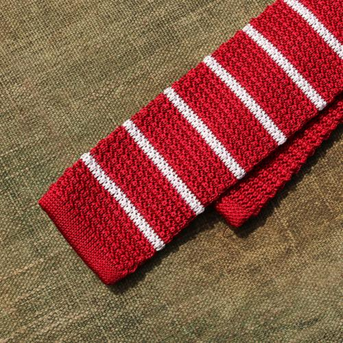 Scarlet And Thin White Stripe Silk Tie