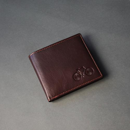 Deep Brown Leather Wallet with Orange Detail Stitch 08